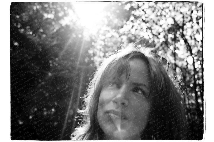 Juliette Lewis, American actress and musician, posing in a park before her band concert.