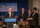 United States House Majority Leader Steny Hoyer (Democrat of Maryland), left, makes remarks after accepting the 2019 Lamplighter Award from Rabbi Levi Shemtov, Executive Vice President of the American Friends of Lubavitch (Chabad), right, during a gala dinner at the Organization of American States in Washington, DC on Tuesday, June 18, 2019. From left to right: Leader Hoyer, Howard Friedman, prominent Jewish Community Leader and former President of AIPAC, US Senator Roy Blunt (Republican of Missouri), and Rabbi Shemtov.<br /> Credit: Ron Sachs / CNP