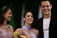 (Center) Almudena Cid of Spain poses with (L) Jennifer Diniz of D'Villena company and (R) her boyfriend after winning the D'Villena Prize for Elegance during awards ceremony at 2008 Portimao World Cup on April 19, 2008.  Photo by Tom Theobald..Photo note: Not sure (please correct id)...is maybe his name Christian Galvez(?), waiting news. Thanks, Tom..