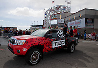 Mar 30, 2014; Las Vegas, NV, USA; The Toyota Tundra truck presented to the fan winner of the K&N Horsepower Challenge during the Summitracing.com Nationals at The Strip at Las Vegas Motor Speedway. Mandatory Credit: Mark J. Rebilas-