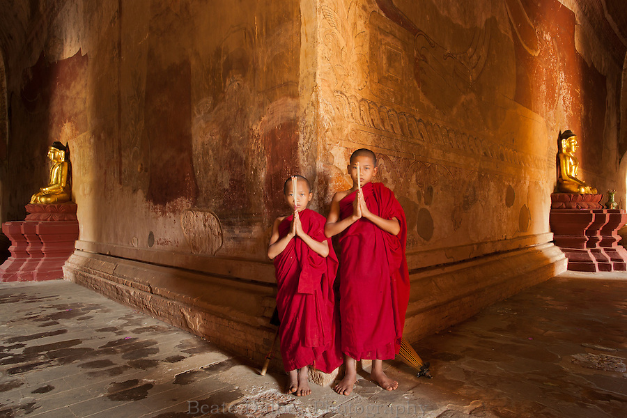 two monks in the Sulamani pagoda, Bagan, Myanmar
