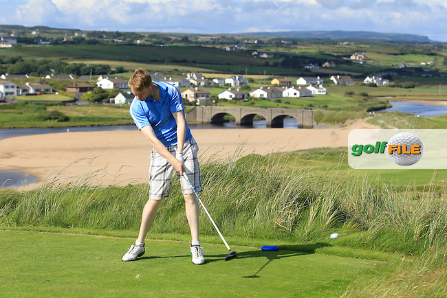 Mark Ryan (Grange) on the 9th tee during Round 1 of The South of Ireland in Lahinch Golf Club on Saturday 26th July 2014.<br /> Picture:  Thos Caffrey / www.golffile.ie