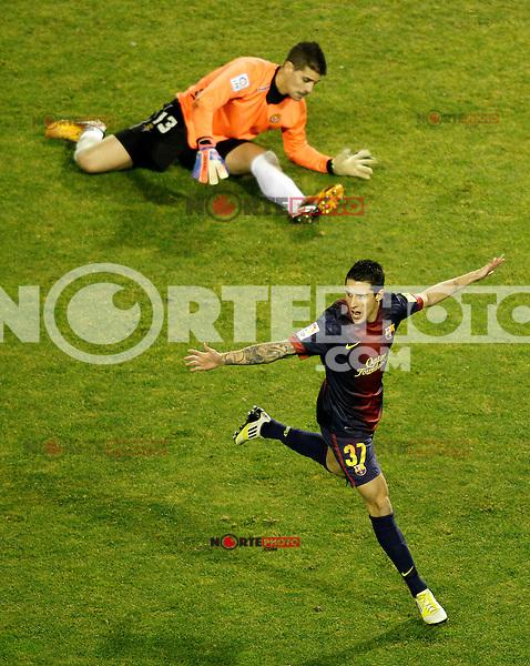 FC Barcelona's Cristian Tello celebrates goal in presence of Real Valladolid's Dani Hernandez during La Liga match.December 22,2012. (ALTERPHOTOS/Acero) /NortePhoto
