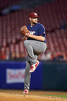 Lehigh Valley IronPigs relief pitcher Phil Klein (48) delivers a pitch during a game against the Buffalo Bisons on July 9, 2016 at Coca-Cola Field in Buffalo, New York.  Lehigh Valley defeated Buffalo 9-1 in a rain shortened game.  (Mike Janes/Four Seam Images)
