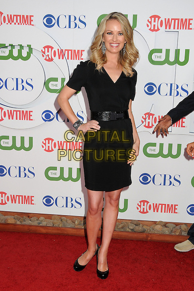 Brooke Anderson.CBS, CW and Showtime Summer 2011 TCA Party held at The Pagoda, Beverly Hills, California, USA..August 3rd, 2011.full length dress belt hand on hip black smiling  .CAP/ADM/BP.©Byron Purvis/AdMedia/Capital Pictures.