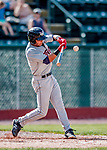 3 September 2018: Tri-City ValleyCats outfielder Andres Santana in action against the Vermont Lake Monsters at Centennial Field in Burlington, Vermont. The Lake Monsters defeated the ValleyCats 9-6 in the last game of the 2018 NY Penn League regular season. Mandatory Credit: Ed Wolfstein Photo *** RAW (NEF) Image File Available ***