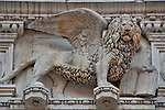 The winged lion on the facade of the Doge's Palace in Venice, Italy