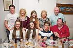 Saidbh Pope, Clogherbrien,Tralee(seated 2nd left) celebrated her 14th birthday with her family in Bella Bia restaurant,Tralee on Sunday night. Seated l-r:  Ciara Cusack, Saidbh, Tommy and Neville Pope. Back l-r: Cillian Cusack, Miriam and Jayde Pope with Celine and Paul Cusack.