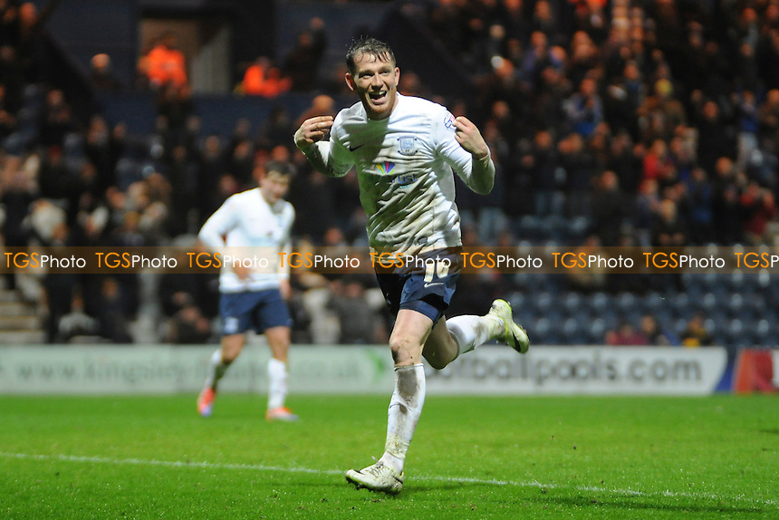 Joe Garner of Preston North End celebrates making it 3-1 - Preston North End vs Peterborough United - Sky Bet League One Football at Deepdale, Preston, Lancashire - 25/03/14 - MANDATORY CREDIT: Greig Bertram/TGSPHOTO - Self billing applies where appropriate - 0845 094 6026 - contact@tgsphoto.co.uk - NO UNPAID USE