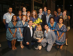 Melissa Benoit backstage with the cast after her Opening Night debut in 'Beautiful-The Carole King Musical' at the Stephen Sondheim on June 12, 2018 in New York City.