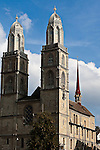 Zurich's Great Church (Grossmunster) .Originally founded by the Holy Roman Emperor Charlemagne, this Romanesque and Gothic cathedral has twin three story towers.