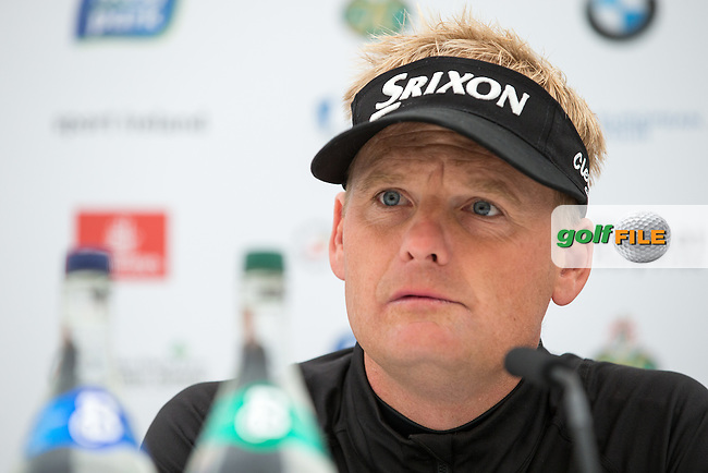 2015 Irish Open Champion Soren Kjeldsen (DEN) in media interview during Wednesday's Pro-Am ahead of the 2016 Dubai Duty Free Irish Open Hosted by The Rory Foundation which is played at the K Club Golf Resort, Straffan, Co. Kildare, Ireland. 18/05/2016. Picture Golffile | David Lloyd.<br /> <br /> All photo usage must display a mandatory copyright credit as: &copy; Golffile | David Lloyd.