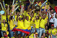 BARRANQUILLA - COLOMBIA - 11 -06 -2013:Hinchas de  selección  Colombia antes del partido contra   la selección del Perú ,partido para la clasificación al mundial Brasil del 2014. Fans of the selection Colombia before the match against the selection of Peru, the classification match for the World Cup Brazil 2014. <br />