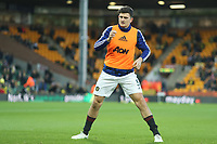 27th Ocotber 2019; Carrow Road, Norwich, Norfolk, England, English Premier League Football, Norwich versus Manchester United; Harry Maguire of Manchester Utd during the warm up - Strictly Editorial Use Only. No use with unauthorized audio, video, data, fixture lists, club/league logos or 'live' services. Online in-match use limited to 120 images, no video emulation. No use in betting, games or single club/league/player publications