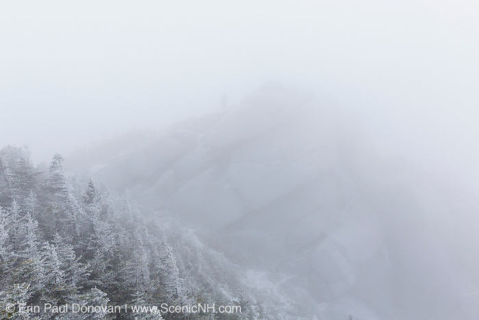 Mount Liberty in whiteout conditions in the White Mountains, New Hampshire USA during the winter months