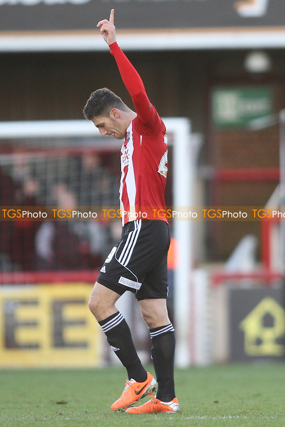 Marcello Trotta of Brentford scores and celebrates - Brentford vs Port Vale - Sky Bet League One Football at Griffin Park, London - 11/01/14 - MANDATORY CREDIT: George Phillipou/TGSPHOTO - Self billing applies where appropriate - 0845 094 6026 - contact@tgsphoto.co.uk - NO UNPAID USE