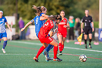 Boston, MA - Sunday September 10, 2017: Julie King and Katherine Reynolds during a regular season National Women's Soccer League (NWSL) match between the Boston Breakers and Portland Thorns FC at Jordan Field.