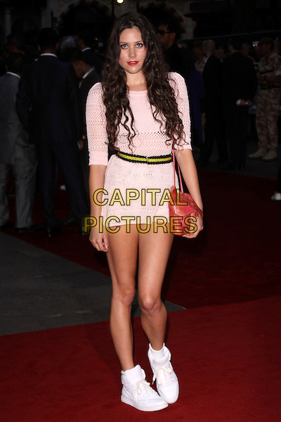 "ELIZA DOOLITTLE.""The Expendables"" UK Film Premiere, Odeon Leicester Square, London, England. .August 9th, 2010 .full length dress white knitted crochet trainers ankle socks pink red bag yellow waistband .CAP/AH.©Adam Houghton/Capital Pictures."