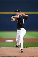 Quad Cities River Bandits pitcher Justin Ferrell (45) delivers a pitch during the first game of a doubleheader against the Wisconsin Timber Rattlers on August 19, 2015 at Modern Woodmen Park in Davenport, Iowa.  Quad Cities defeated Wisconsin 3-2.  (Mike Janes/Four Seam Images)