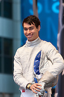 USA Olympic Fencing team member James Williams participates in the Road to London 100 Days Out Celebration in Times Square in New York City, New York, USA on Wednesday, April 18, 2012.  Times Square was transformed into an Olympic Village for the event.