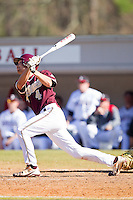 Jamie Holler #4 of the College of Charleston Cougars follows through on his swing against the Davidson Wildcats at Wilson Field on March 12, 2011 in Davidson, North Carolina.  The Wildcats defeated the Cougars 8-3.  Photo by Brian Westerholt / Four Seam Images