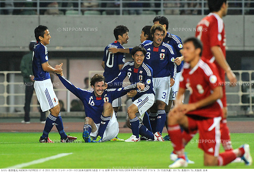 Japan team group (JPN), OCTOBER 11, 2011 - Football / Soccer : Mike Havenaar (2nd L) of Japan celebrates with his teammates after scoring the opening goal during the 2014 FIFA World Cup Asian Qualifiers Third round Group C match between Japan 8-0 Tajikistan at Nagai Stadium in Osaka, Japan. (Photo by Takamoto Tokuhara/AFLO)