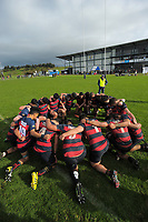 The Hastings team huddles after winning the 2017 1st XV rugby Top Four boys final between Hastings Boys' High School and Hamilton Boys' High School at Sport and Rugby Institute in Palmerston North, New Zealand on Sunday, 10 September 2017. Photo: Dave Lintott / lintottphoto.co.nz