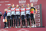 Lotto-Soudal Ladies at sign on before the Strade Bianche Women Elite 2019 running 133km from Siena to Siena, held over the white gravel roads of Tuscany, Italy. 9th March 2019.<br /> Picture: Eoin Clarke | Cyclefile<br /> <br /> <br /> All photos usage must carry mandatory copyright credit (© Cyclefile | Eoin Clarke)