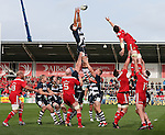 Mark Easter of Sale Sharks wins a line out - European Rugby Champions Cup - Sale Sharks vs Munster -  AJ Bell Stadium - Salford- England - 18th October 2014  - Picture Simon Bellis/Sportimage