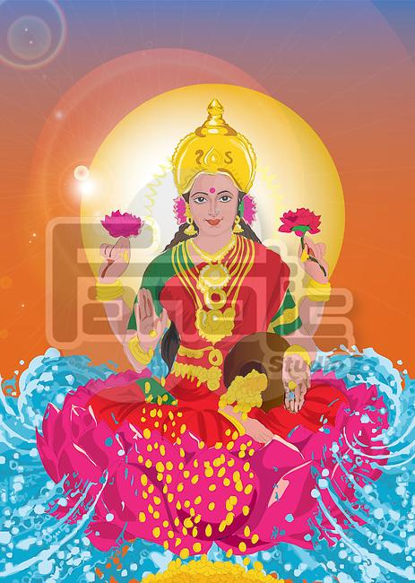 Close-up of Goddess Lakshmi