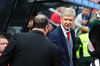 Newcastle United manager Rafa Benítez and Arsenal manager Arsene Wenger embrace before kick off during Newcastle United vs Arsenal, Premier League Football at St. James' Park on 15th April 2018