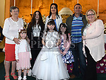 Caitlyn Kinsella from St Brigids school who recieved first holy communion in Our Lady of Lourdes church with her family. Photo:Colin Bell/pressphotos.ie