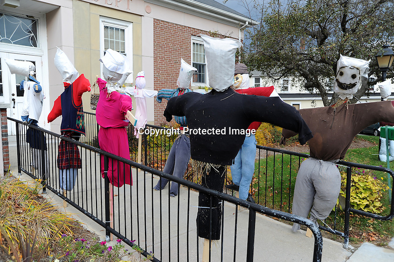 Streets of Scarecrows in Town Contest in Rural Village of Jaffrey, New Hampshire USA