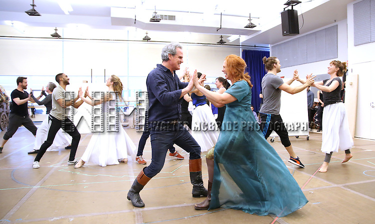 Michael Park and Carolee Carmello with cast during the 'Tuck Everlasting' press sneak peek at the New 42nd Street studios on February 29, 2016 in New York City.