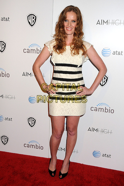 "Rebecca Mader.""Aim High"" Los Angeles Premiere held at Trousdale, West Hollywood, California, USA..October 18th, 2011.full length black white striped stripes dress hands on hips peep toe shoes lace .CAP/ADM/BP.©Byron Purvis/AdMedia/Capital Pictures."