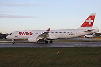 A Swiss Airbus A220-300 Registration HB-JCM at Manchester Airport on 11.2.19 going to Zürich Kloten Airport, Switzerland.