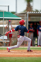 GCL Cardinals Franklin Soto (5) bats during a Gulf Coast League game against the GCL Marlins on August 12, 2019 at the Roger Dean Chevrolet Stadium Complex in Jupiter, Florida.  GCL Marlins defeated the GCL Cardinals 9-2.  (Mike Janes/Four Seam Images)