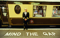 """Venice Simplon-Orient-Express. The Pullman Train at Victoria Station. """"Mind the Gap"""""""