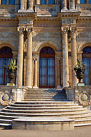 The Ottoman style Architecture of the front of the Dolmabahçe (Dolmabahce)  Palace, built by Sultan, Abdülmecid I between 1843 and 1856. Istanbul Turkey