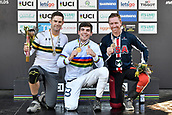 10th September 2017, Smithfield Forest, Cairns, Australia; UCI Mountain Bike World Championships; first place Loic Bruni (FRA) riding for Specialized Gravity, second place Mick Hannah (AUS) riding for Polygon UR and third place Aaron Gwinn (USA) riding for The YT Mob on the podium for the elite mens downhill race;