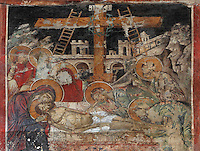 Fresco of the Deposition of Christ, repainted in 1591 at the behest of the priest father Konstandin and his brothers Dimitre and Jan, in the Cathedral of St Nicholas inside Berat Castle or Kalaja e Beratit, in Berat, South-Central Albania, capital of the District of Berat and the County of Berat. Picture by Manuel Cohen
