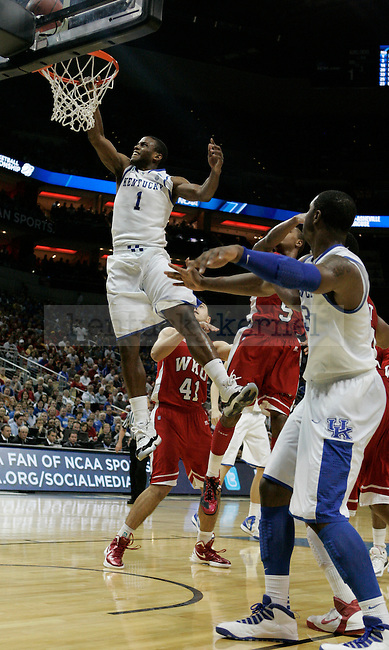 Darius Miller takes a shot during the second half of the University of Kentucky game against Western Kentucky University in the second round of the NCAA Tournament, in the KFC Yum! Center, on Thursday, March 15, 2012 in Louisville, Ky.  Photo by Latara Appleby | Staff ..