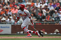 SAN FRANCISCO, CA - JULY 7:  Dexter Fowler #25 of the St. Louis Cardinals bats against the San Francisco Giants during the game at AT&T Park on Saturday, July 7, 2018 in San Francisco, California. (Photo by Brad Mangin)