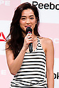 "Fashion model Anne Nakamura speaks during the Reebok Skyscape Fashion Show on April 15, 2015, Tokyo, Japan. Miranda Kerr, who is very popular in Japan, is the Reebok global ambassador for the new footwear line ""Skyscape"". Models Anne Nakamura, Tina Tamashiro and Funassyi, mascot of Funabashi city in Chiba, also attended the event. (Photo by Rodrigo Reyes Marin/AFLO)"