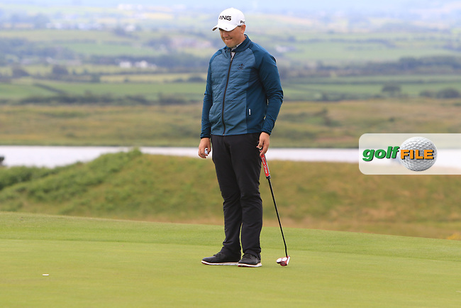 Colm Campbell Jnr (Warrenpoint) on the 17th green during Round 2 of the North of Ireland Amateur Open Championship 2019 at Portstewart Golf Club, Portstewart, Co. Antrim on Tuesday 9th July 2019.<br /> Picture:  Thos Caffrey / Golffile<br /> <br /> All photos usage must carry mandatory copyright credit (© Golffile   Thos Caffrey)