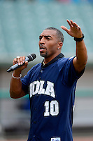 New Orleans Zephyrs guest, New Orleans Saints team ambassador and former wide receiver Michael Lewis talks to the crowd about anti-bullying before a game against the Round Rock Express on April 15, 2013 at Zephyr Field in New Orleans, Louisiana.  New Orleans defeated Round Rock 3-2.  (Mike Janes/Four Seam Images)
