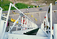 1985 File Photo - Montreal (qc) CANADA - View from the top of a firetruck ladder
