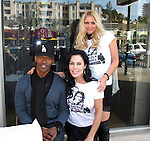 "**EXCLUSIVE**.Jamie Foxx with Simona Levin and Lisa Aybike Kir wearing a ""Ted Willians"" T shirt created by Artist Jeffery Dread..Petit Four Restaurant..Sunset Plaza..West Hollywood, CA, USA..Thursday, January 13, 2011.Photo By CelebrityVibe.com.To license this image please call (212) 410 5354; or Email: CelebrityVibe@gmail.com ; website: www.CelebrityVibe.com"