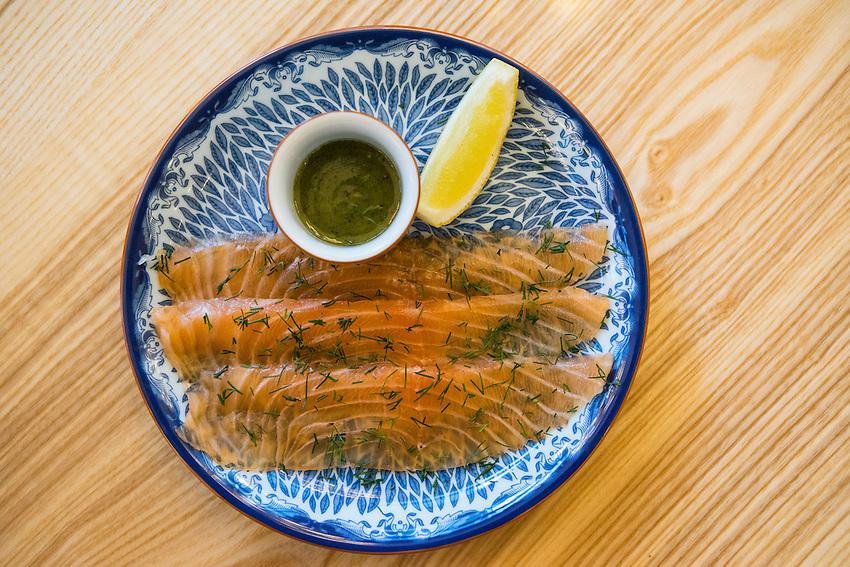 Aquavit the Restaurant. The dish is Gravadlax.