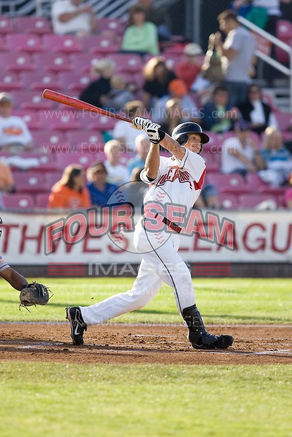 July 7, 2009: Salem-Keizer Volcanoes' Dan Cook at-bat during a Northwest League game against the Tri-City Dust Devils at Volcanoes Stadium in Salem, Oregon.